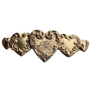 KIRK'S FOLLY GOLD TONE HEARTS HAIR BARRETTE